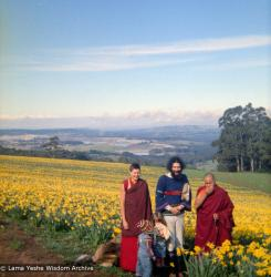 (16731_ng.tif) Lama Yeshe and Yeshe Khadro (Marie Obst) visiting the Dandenong Ranges near Melbourne, Australia with Peter Stripes and his two eldest children, 1976.