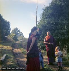 (16733_ng.tif)  Lama Yeshe and Yeshe Khadro (Marie Obst) visiting the Dandenong Ranges near Melbourne, Australia with Peter Stripes and his two eldest children, 1976.