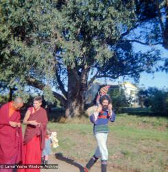 (16734_ng.tif)  Lama Yeshe and Yeshe Khadro (Marie Obst) visiting the Dandenong Ranges near Melbourne, Australia with Peter Stripes and his two eldest children, 1976.