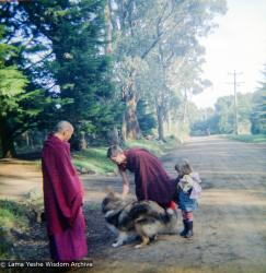 (16736_ng.tif)  Lama Yeshe and Yeshe Khadro (Marie Obst) visiting the Dandenong Ranges near Melbourne, Australia with Peter Stripes and his two eldest children, 1976.