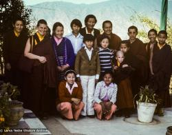 (16751_sl.TIF) Group portrait with Jampa Trinley and family, 1976. Photo includes Lama Yeshe, Lama Zopa Rinpoche, Thubten Wongmo (Feather Meston), Daja Meston (Thubten Wangchuk), Jampa Trinley, and his wife Ngawang Trinley. Kopan Monastery, Nepal, 1976.