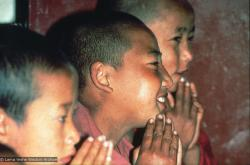(16760_sl.psd) Mount Everest Center students in the gompa (shrineroom), Kopan Monastery, Nepal, 1976.