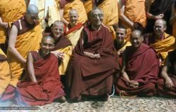 (16762_sl.tif) From the left: Angeles de la Torre (kneeling), Lama Zopa Rinpoche (seated front), Steve Malasky (Steve Pearl), Wendy Finster, HH Trijang Rinpoche (seated in chair), Thubten Pende (Jim Dougherty), Lama Yeshe, Dieter Kratzer.