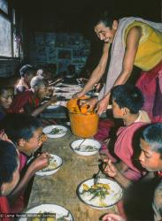 (16765_sl.psd) Mealtime with the Mount Everest Center students students, Kopan Monastery, Nepal,1976. Tsultrim Norbu