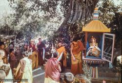 (16768_sl.tif) Installing the Tara statue, Kopan Monastery, Nepal, 1976. Lama Pasang is to the left of the glass house which holds Tara.