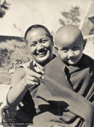(16774_pr.psd) Lama Yeshe with Yangsi Rinpoche, 1976. Kelsang Puntsog Rinpoche, the son of Lama Yeshe's old friend Jampa Trinley, was later recognized to be the reincarnation of Geshe Ngawang Gendun, one of Lama's teachers. In January 1975 he was enthroned at Kopan Monastery, Nepal, after which occasion he became known to all as Yangsi Rinpoche.