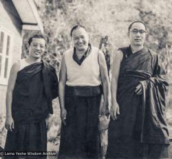 (16824_pr-3.jpg) Zasep Tulku, Lama Yeshe, Geshe Loden, Chenrezig Institute, Australia, 1977.