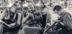 (16835_pr-3.psd) Lama Yeshe and Lama Zopa Rinpoche with Geshe Lobsang Thubten, Tushita-Delhi, India, 1983. Uldis Balodis (donor)