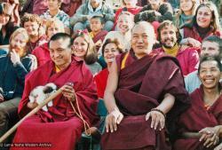 (16937_pr-3.jpg) Lama Zopa Rinpoche and Lama Yeshe in group photo for16th Kopan Meditation Course, Fall, Kopan Monastery, Nepal, 1983.