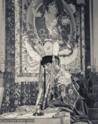 Lama Zopa Rinpoche in ceremonial dress, Heruka initiation, Manjushri Institute, 1978. Photo by Brian Beresford.
