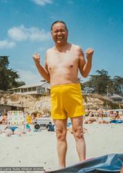 (17357_pr-3.psd) Lama Yeshe at the beach, California,1983. Åge  Delbanco (photographer)