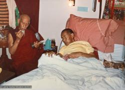 (17362_pr-2.psd) A photo of Zong Rinpoche and Lama Yeshe shortly before Lama's death, California, 1984. Photo by Lama Zopa Rinpoche.