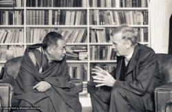 (17540_ng-3.psd) Lama Yeshe with the Archbishop of Bendigo, Australia, 1981. Ian Green (photographer)
