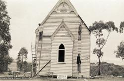 (17587_ng-3.psd) Construcion at Atisha Centre, a converted church in Sandhurst, Bendigo, Australia, 1981. Ian Green (photographer)