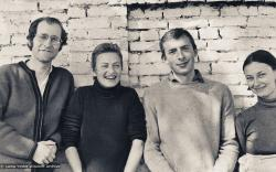 (18005_pr-3.psd) Central Committee members: Jon Landaw, Wendy Finster, Peter Kedge, Petey Shane, Kopan Monastery, 1975. Nick Ribush (donor)