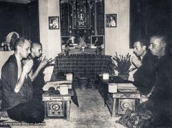 (18132_pr-3.psd) Memebers of IMI Sangha Nick Ribush, Chris Kolb (Ngawang Chötak), Ron Brooks and Thubten Pende (Jim Dougherty) doing morning puja in Zina's old room, Kopan Monastery, 1974.