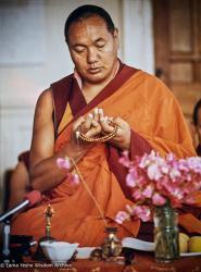 (18450_pr-3.psd) Lama Yeshe leading practice at Manjushri Institute, England, 1976.