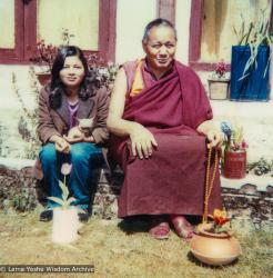 (18771_pr-3.psd) Jhamba Dolkar, Lama Yeshe and the  chihuahua named Lama, Tushita Retreat Centre, Dharamsala, India. 1983.