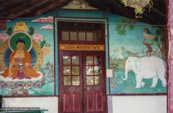 (19153_pr-3.tif) Murals on the veranda at Tushita Retreat Centre, Dharamsala, India, 1974.
