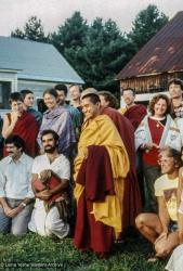 Lama Zopa Rinpoche and students at Milarepa Center, Vermont, 1981.