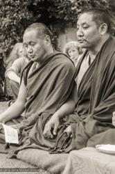 (20945_ng-1.psd) Lama Yeshe and Geshe Tegchok doing puja, Manjushri Institute, England, 1979. Brian Beresford (photographer)