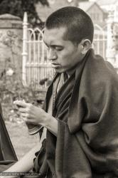 (20946_ng.TIF) Lama Zopa Rinpoche doing puja, Manjushri Institute, England, 1979. Brian Beresford (photographer)