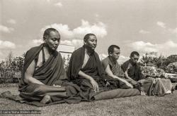 (20970_ng-3.psd) Lama Yeshe, Geshe Tegchok, Jamyang Rinpoche, and Lama Zopa Rinpoche at Manjushri Institute, England, 1979. Brian Beresford (photographer)