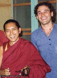(21483_pr-3.tif) Lama Zopa Rinpoche and  Xavi Alongina (donor), Ibiza, 1978.