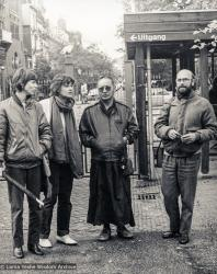 (21899_pr-3.psd) Lama Yeshe with Margot and Jan Paul Kool, and Corine Terstegge, Amsterdam, 1980.