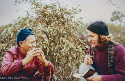 (22027_pr-3.psd) Lama Yeshe with Garrey Foulkes on the land for Atisha Centre, Bendigo, Australia, 1981.