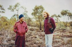(22028_pr-3.psd) Lama Yeshe with Garrey Foulkes on the land for Atisha Centre, Bendigo, Australia, 1981.