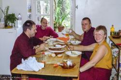 (22169_ng-3.tif) Jimi Neal, Adrian Feldmann (Thubten Gyatso), Hermes Brandt, Carol Davies, Nalanda Monastery, Lavaur, France, 1981.