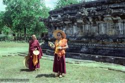 (22386_ng.tif) Lama Yeshe and Lama Zopa Rinpoche at Borobodur, Java, 1979.
