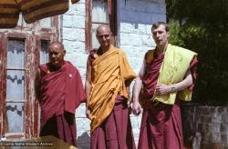 (22414_ng-3.tif) Lama Yeshe, Piero Cerri, Peter Kedge, Tushita Retreat Centre, Dharamsala,  India, 1982.