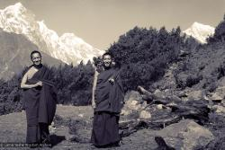 (15076_ng-3.psd) Lama Yeshe and Lama Zopa Rinpoche near Lawudo Retreat Center, 1970. Photo by Terry Clifford.