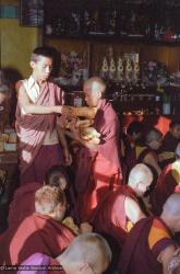 (22629_ng.tif) (16714_ng.tif) Mount Everest Center students students distributing food in the gompa (meditation hall), Kopan Monastery, Nepal, 1976.