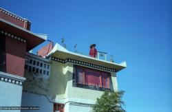 (22827_ng.tif) Lama Yeshe on the rooftop at Kopan Monastery, Nepal, 1979. Ina Van Delden (photographer)