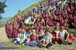 (22839_ng.jpg) 12th Meditation Course at Kopan Monastery, Nepal, group photo, 1979. Four couples, shown here, were married after the course. Ina Van Delden (photographer)