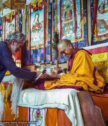 (22842_ng-3.psd) John Schwartz attending to Lama Zopa Rinpoche, 12th Meditation Course, Kopan Monastery, Nepal, 1979. Ina Van Delden (photographer)