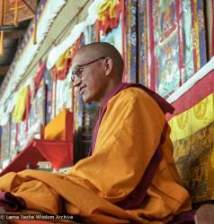 (22845_ng.tif) Lama Zopa Rinpoche teaching at the 12th Meditation Course at Kopan Monastery, Nepal, 1979. Ina Van Delden (photographer)