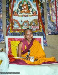 (22846_ng.tif) Lama Zopa Rinpoche teaching at the 12th Meditation Course at Kopan Monastery, Nepal, 1979. Ina Van Delden (photographer)