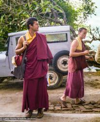 (22861_ng-3.tif) Marcel Bertels (on left) and Harry Sutton, Kopan Monastery, 1979. Ina Van Delden (photographer)