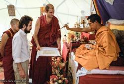 (23050_ng-3.tif) Lama Zopa Rinpoche, Basili Lorca, Piero Cerri, Alberto Vignoli, Alicante, Spain, 1981.