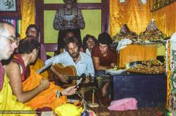 (23437_ng-3.tif) Songs from students and sangha during long life puja for Lama Yeshe, Tushita Retreat Centre, Dharamsala, India, 1982. Dan Laine (photographer)