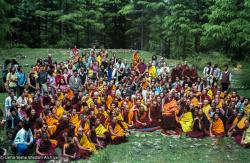(23463_ng-3.tif) First Enlightened Experience Celebration group with Zong Rinpoche, back of Tushita Retreat Centre, Dharamsala, India, 1982.