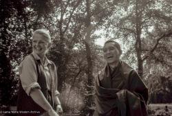 (23489_ng-3.psd) Louwrien Wijers and Lama Zopa Rinpoche, Bruchem, Netherlands, 1981. Ina Van Delden (photographer)