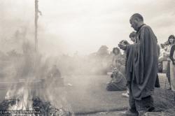 (23550_ng-3.tif) Lama Yeshe, Fire puja, Manjushri Institute, England, 1980. Ina Van Delden (photographer)
