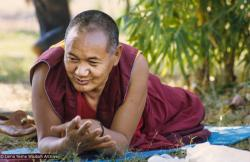 (24040_sl-3.psd) Lama Yeshe at the picnic in Bodhgaya at end of First Enlightened Experience Celebration, part 1. Ina Van Delden (photographer)