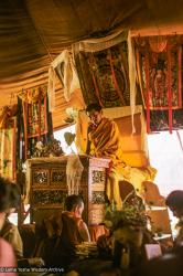 (24376_sl-3.TIF) Lama Zopa Rinpoche teaching during the fifth Meditation Course, Kopan Monastery, 1973. Jeff Nye (photographer)