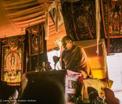 (24395_sl-3.TIF) Lama Yeshe teaching during the fifth Meditation Course, Kopan Monastery, 1973. Jeff Nye (photographer)